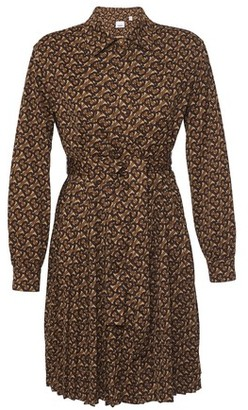 Burberry Pleated Monogram Print Jersey Tie-waist Shirt Dress