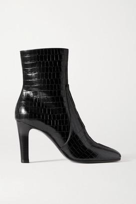 Saint Laurent Blu Croc-effect Leather Ankle Boots - Black