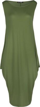 Be Jealous Womens Italian Drape Lagenlook Sleeveless Side Pockets Ladies Baggy Midi Dress Royal Blue