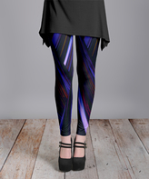 Lily Blue & Burgundy Abstract Leggings - Plus Too