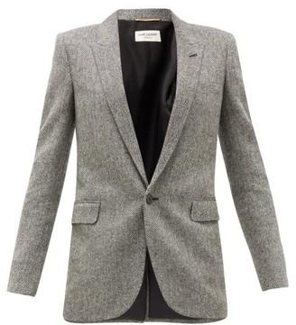 Saint Laurent Single-breasted Herringbone Wool Blazer - White Black