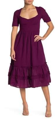 Free People Frances Lace-Up Back Flounced Midi Dress