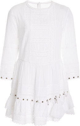 R 13 Lacy Embellished Cotton-Gauze Mini Dress