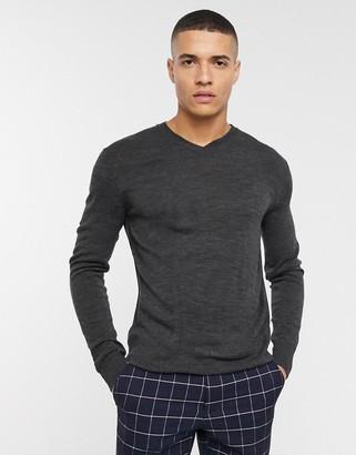 French Connection plain logo v neck knit sweater