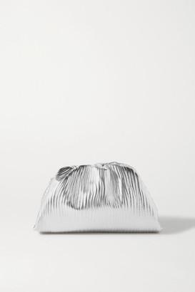 Bottega Veneta The Pouch Small Gathered Metallic Textured-leather Clutch - Silver
