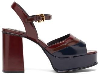 See by Chloe Panelled Platform Leather Sandals - Burgundy Multi