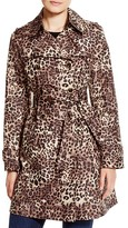 Via Spiga Leopard Print Double Breasted Trench Coat