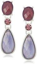 Anne Klein Silver-Tone and Purple Post Drop Earrings