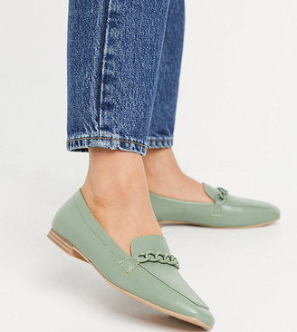 Raid Wide Fit Artie loafers with colour drenched trim in mint