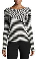 Theory Kellay Striped Ribbed Top, Black/White