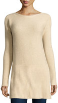 Neiman Marcus Cashmere Drop-Shoulder Sweater, Oatmeal