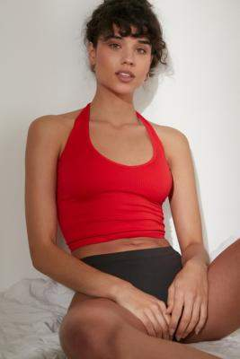 Out From Under Jackie Seamless Plunge Halter Neck Top - black S at Urban Outfitters