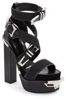 Versace Leather Buckle Platform Sandals