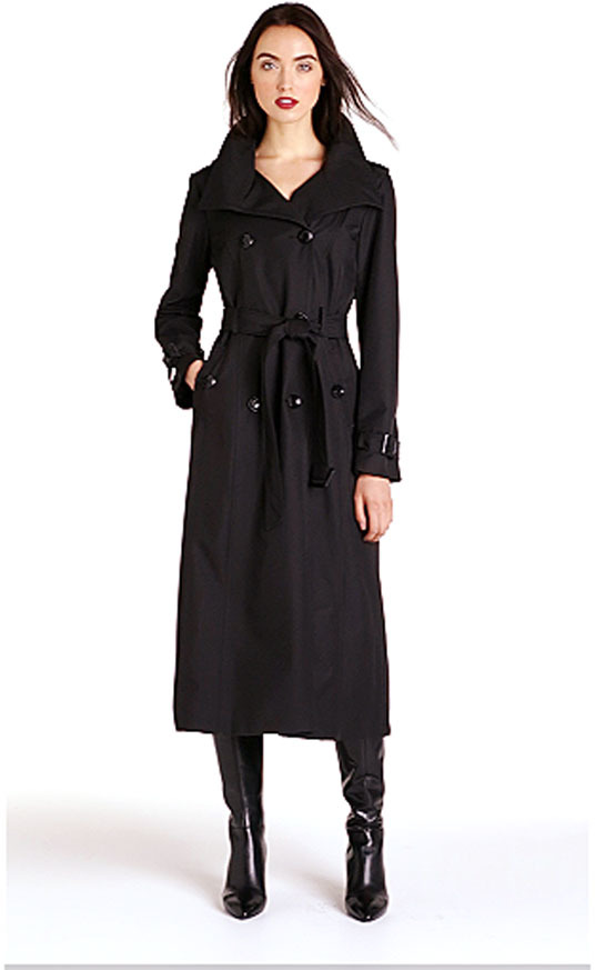 Ellen Tracy Long Trench with Detachable Hood