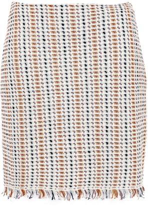 Tory Burch Fringe-trimmed Metallic Linen-blend Mini Skirt
