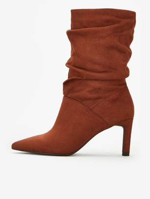 Very Sonia Heeled Slouch Calf Boots - Tan