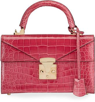 Stalvey Alligator 24K Gold 2.5 Small Top-Handle Bag, Pink