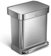 Simplehuman Liner Rim Rectangular Step Trash Can with Liner Pocket, Stainless Steel, 30 Liter / 7.9 Gallon