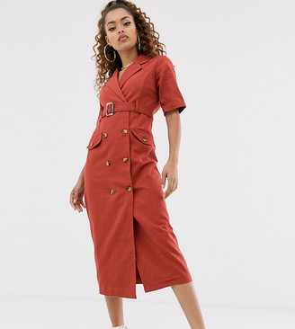 Asos DESIGN Petite denim double breasted midi dress with short sleeve-Orange