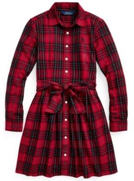 Polo Ralph Lauren Big Girls Plaid Cotton Twill Shirt Dress