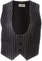 Saint Laurent sleeveless pinstripe waistcoat - women - Silk/Wool - 40