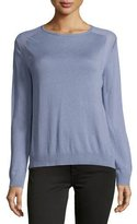 Halston Long-Sleeve Sheer-Inset Sweater, Lavender