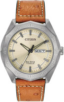 Citizen Men's Eco-Drive Tan Leather Strap Watch 44mm AW0060-11P