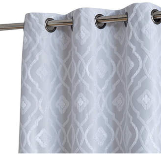 "Obscura By Hlc. me Tweed Heads Trellis Flocked 100% Blackout Grommet Curtain Panels - 37"" W X 96"" L - Set of 2"