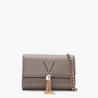 Valentino By Mario Valentino Divina Taupe Pebbled Shoulder Bag