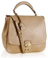 sand faded leather flap tote