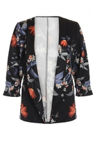 Quiz Black and Orange Floral Print Ruched Sleeve Jacket