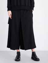 Y's Ys Dropped-crotch high-rise wool-blend trousers