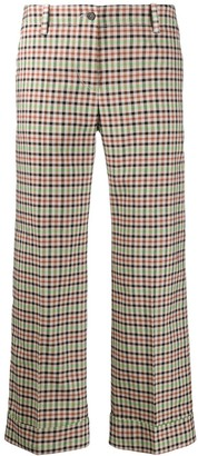 Alberto Biani Check Print Pleat Detail Trousers