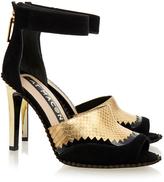 Kat Maconie Fern Black and Gold Peep Toe Sandal
