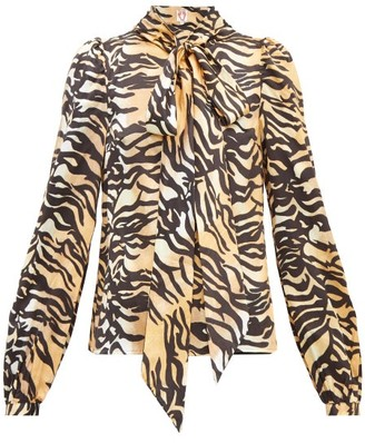 Shrimps Helen Tiger-print Tie-neck Silk And Cotton Blouse - Womens - Brown Multi