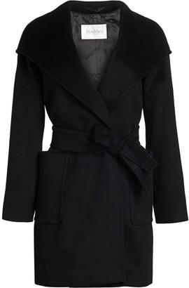 Max Mara Rialto Icon Camel Hair Wool Hooded Wrap Coat