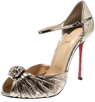 Christian Louboutin Metallic Gold Leather Marchavekel Knotted Ankle Strap Sandals Size 39.5