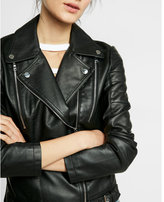 Express minus The) Leather Ponte Knit Panel Zip Moto Jacket