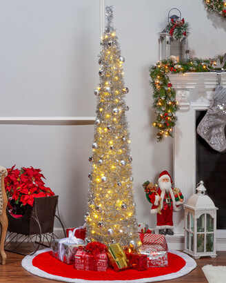 Sterling Tree Company 6Ft Pop Up Pre-Lit Decorated Narrow Silver Tinsel Tree