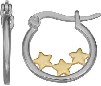 Junior Jewels Kids' Sterling Silver Triple Star Hoop Earrings
