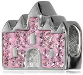 """Disney Stainless Crystal Castle """"Happily Ever After"""" Bead Charm"""