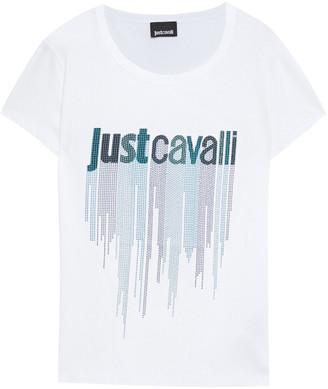 Just Cavalli Studded Printed Cotton-jersey T-shirt