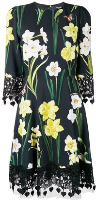 Dolce & Gabbana floral lace trim dress