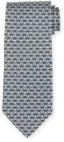 Salvatore Ferragamo Floral-Print Silk Tie, Gray