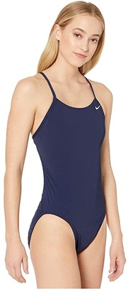 Nike Solid Poly Cut-Out Tank Swimsuit (Black) Women's Swimsuits One Piece