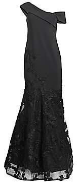Teri Jon by Rickie Freeman Women's Lace Appliqué Scuba Mermaid Gown