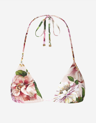 Dolce & Gabbana Triangle Bikini Top With Floral Rose Print