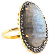 Rarities Labradorite Gold Plated Sterling Champagne Diamond Ring Size 8 New