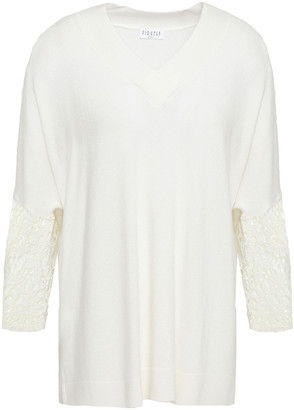 Claudie Pierlot Oversized Lace-paneled Knitted Sweater