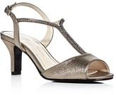 Caparros Delicia Metallic Satin Embellished Mid Heel Sandals